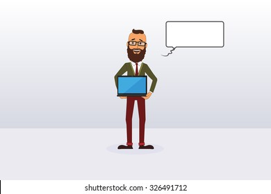 Vector Hipster Holding Laptop