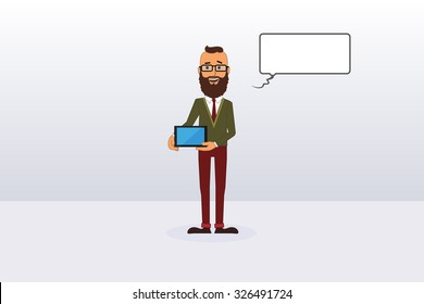 Vector Hipster Holding Tablet