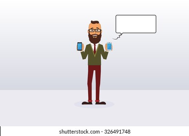 Vector Hipster Holding Two Phones