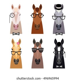 Vector hipster horse heads in glasses, bow and hat collection isolated b. Flat cartoon style. Horses of different breeds and colors. Funny face horses. Poster banner print advertisement design element
