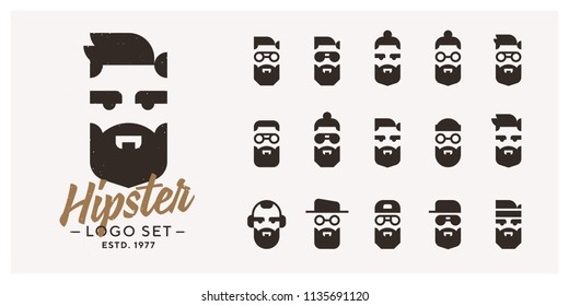 Vector Hipster logo set. 15 combinations of logotypes. Different haircuts, hats, eyes, glasses and beard styles.