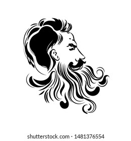 Vector hipster man bearded face vector print modern fashion
