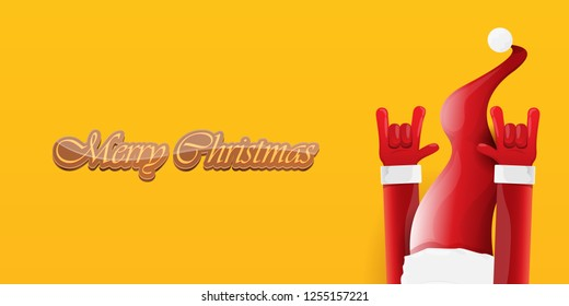Vector Hipster Merry Christmas Rock n roll party horizontal banner or poster design . vector cartoon rock n roll Santa Claus character with calligraphic greeting text on orange background