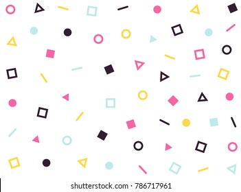 Vector hipster pattern geometric forms. Line, square, triangle, circle. Retro 80s-90s pattern