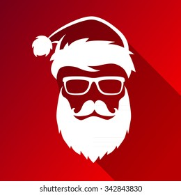 Vector hipster Santa Claus fashion silhouette with cool beard and glasses