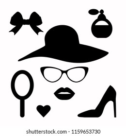 Vector hipster set. Lady's Accessories