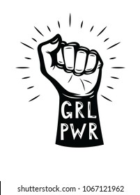 "Vector hipster style poster of woman's fist. ""Girls power"" lettering with logo design elements isolated from white background"