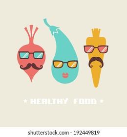 Vector hipster vegetables. Original lifestyle concept of healthy food. Illustration for print, web
