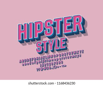 Vector Hipster Vintage Alphabet. Retro style Set of Letters, Numbers and Symbols