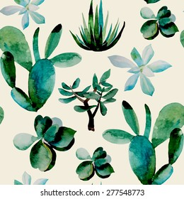 Vector hipster watercolor seamless pattern with succulents