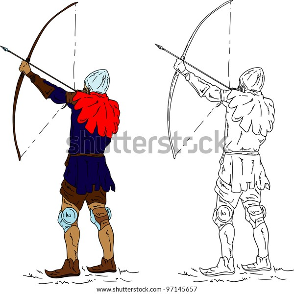 vector - historic archer, isolated on background