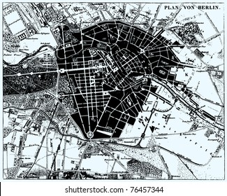 Vector Historical map of Berlin, Germany, from atlas published in 1851. Other vector maps in my portfolio.