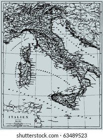 """Vector Historical map of Italy from """"The Bilderatlas"""" by F. A. Brockhaus atlas published in 1851. Other vector maps in my portfolio."""