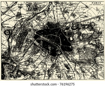Vector Historical map of Paris, France, from atlas published in 1851. Other vector maps in my portfolio.