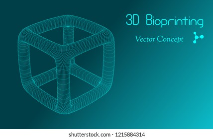 Vector HiTech Biotechnology Scientific Concept - Emblem of 3D Bio printing, Regenerative Biomedicine, Bioengineering etc