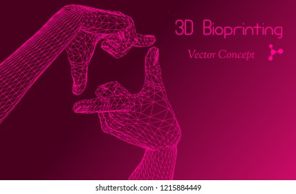 Vector HiTech Biotechnology Scientific Concept - Emblem of 3D Bioprinting