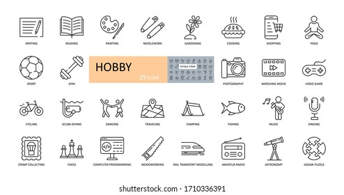 Vector hobby icons. Editable Stroke. Hobbies for children and adults at home and outdoors. Sports, diving, dancing, reading, drawing, music and singing, collecting, chess, astronomy, photo and video