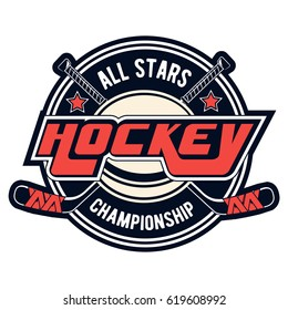 Vector hockey logo for print design, advertisement, web on white background