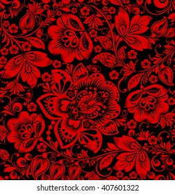 Vector Hohloma seamless pattern. Floral russian ornament