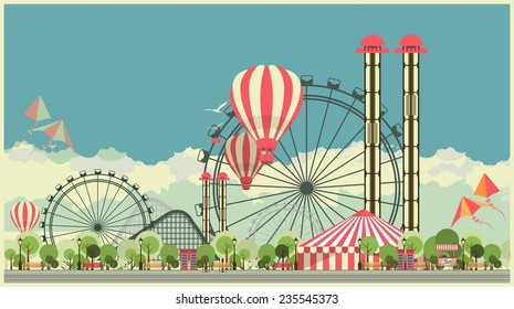 Vector holiday background with carnival and amusement park