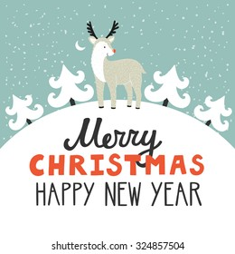 Vector holiday background with cute reindeer, Christmas trees, night sky, moon. Christmas card with hand written text Merry Christmas and happy New Year. Childish winter background.