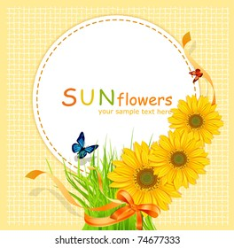 vector holiday background with a round card, sunflowers and green grass