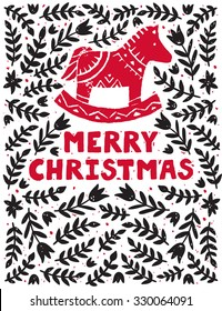 """Vector holiday background with traditional ornaments and red horde. Christmas card with text """"Merry Christmas"""" and floral design."""