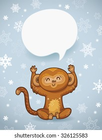 Vector holiday banner with cute cartoon character monkey and bubble for text