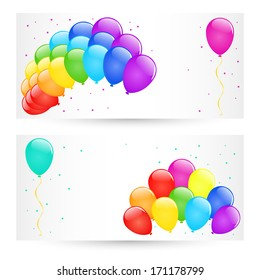 Vector holiday banners with colorful balloons.