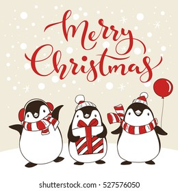 Vector holiday Christmas greeting poster with different cartoon penguins and Merry Christmas lettering. Holiday kids illustration.