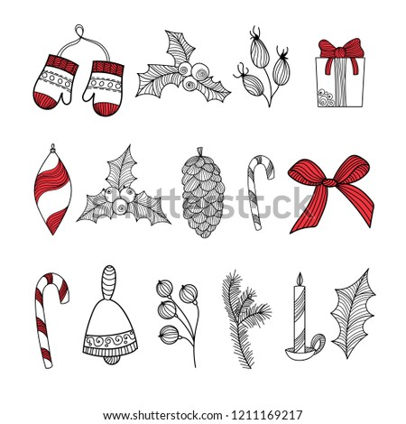 vector holiday christmas new year clipart set doodle illustrations gift candy christmas floral