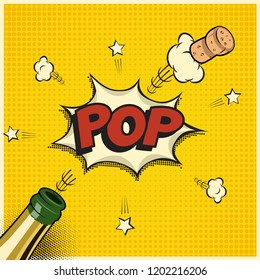 Vector holiday element in comic book or manga style. Champagne bottle with flying cork and Pop word