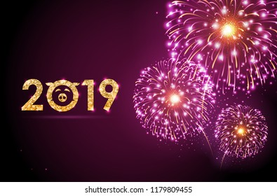 Vector holiday festival pink firework. Happy new year card 2019