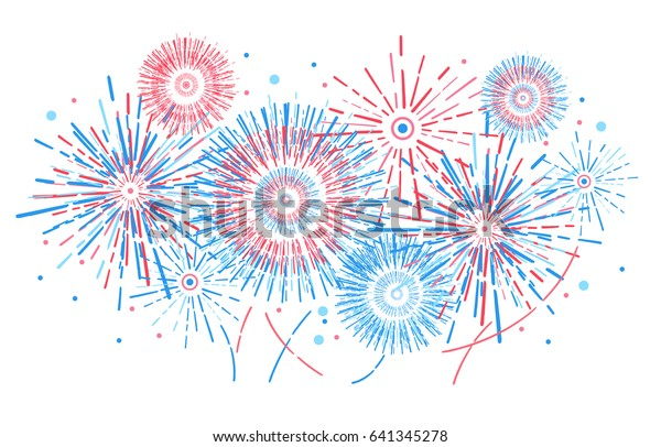 Vector holiday firework. Independence day of America