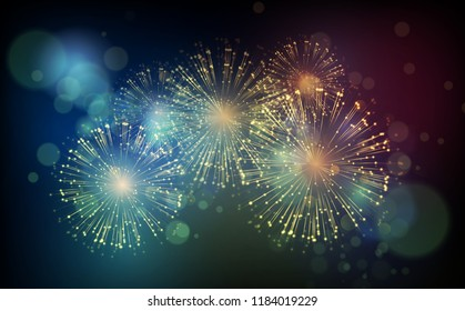 Vector Holiday Fireworks Background. Happy New Year