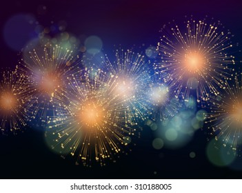 Vector Holiday Fireworks Background. Happy New Year 2016