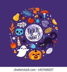 Vector holiday greeting card with Halloween symbol: full moon, black cat, ghost, skull, jack o' lantern, caramel apple, candy corn, candles. Trick or treat. Spooky cartoon characters. Halloween sweets