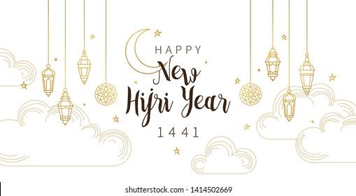 Vector  holiday Happy New Hijri Year 1441. Card with calligraphy, gold outline lanterns, crescent for muslim celebration. Islamic greeting illustration for banners. Golden decoration in Eastern style.