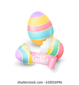 Vector holiday illustration with the broken eggshell and colored egg for greeting banners and flyers design. An eggshell halves with pink ribbon isolated on the white background.