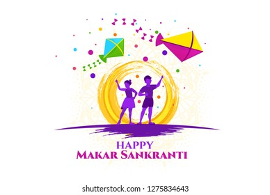 vector holiday illustration. children fly kites for the holiday Makara Sankranti or Sankranti. Hindu harvest festival, celebrated at the winter solstice. graphic design