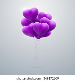 vector holiday illustration of flying bunch of purple balloon hearts. Happy Valentines Day