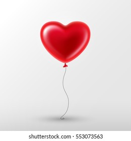 Vector holiday illustration of flying red balloon in form of heart on light background. Happy Valentines Day
