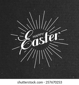 vector holiday  illustration of handwritten Easter retro label and light rays on the black cardboard background. religious holiday sign or logo.