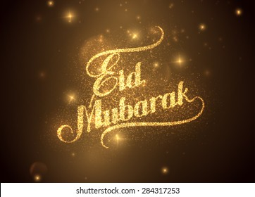 vector holiday illustration of handwritten Eid Mubarak shiny label. lettering composition of muslim holy month with sparkles and glitters