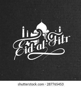 vector holiday illustration of handwritten Eid-al-Fitr retro label. lettering composition of muslim holy month