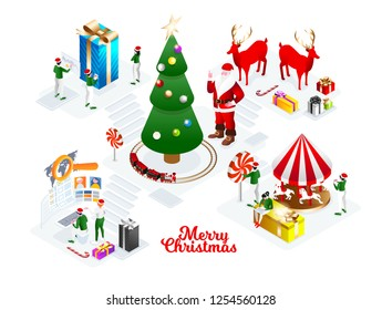 vector holiday illustration. Merry Christmas and Happy New Year 2019. Santa Claus headquarters, elves collect gifts for the new year. Santa Claus office