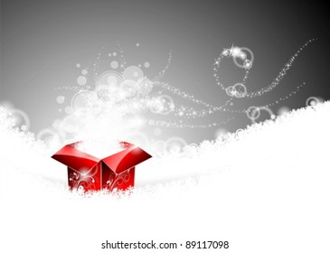 Vector Holiday  illustration on a Christmas theme with gift box.