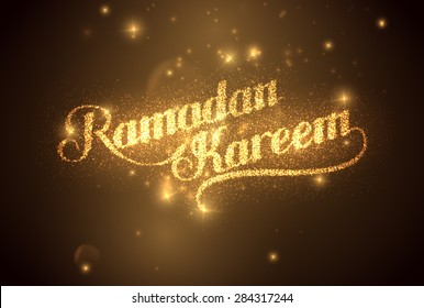 vector holiday illustration of shiny Ramadan Kareem label. lettering composition of muslim holy month with sparkles