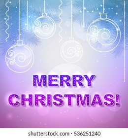 Vector holiday present card with Merry Christmas text on it and with Christmas balls.