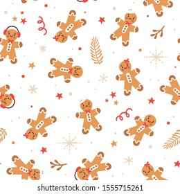 Vector holiday seamless pattern with ginger cookies and snowflakes. Winter repeated texture with gingerbread man. Christmas print for fabric and wrapping paper. Scandinavian style. Kids illustration.